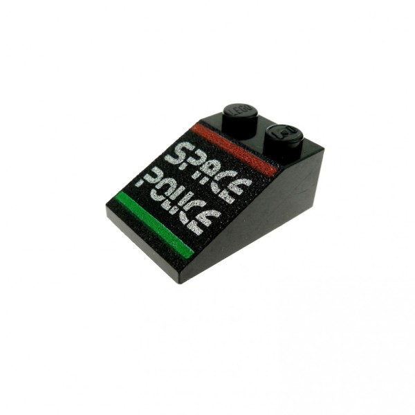 1 x Lego System Dachstein schwarz 33° 3x2 bedruckt mit Space Police Dachziegel schräg Steine 3298pb010