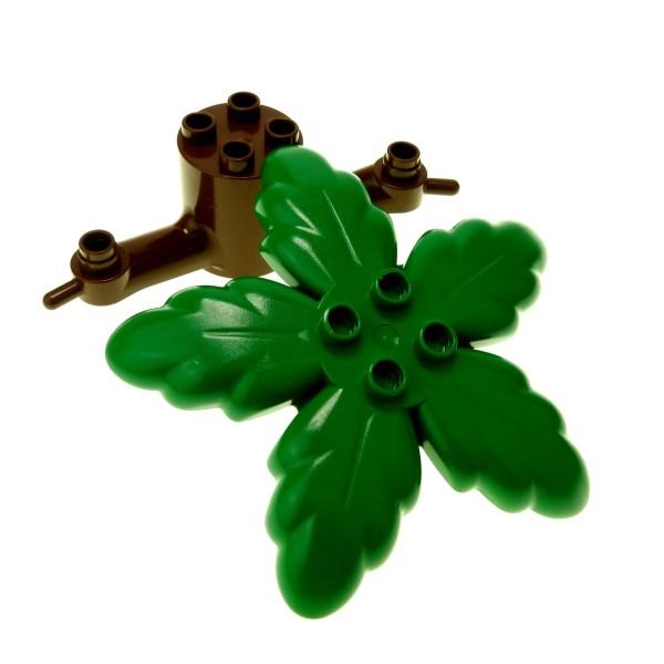 1 x Lego Duplo Pflanze braun grün Baum Teil Stumpf Stamm mit Krone Palme Blätter Zoo Insel Safari Dino Set 9160 2669 2664 2668 4100842 2289 31059