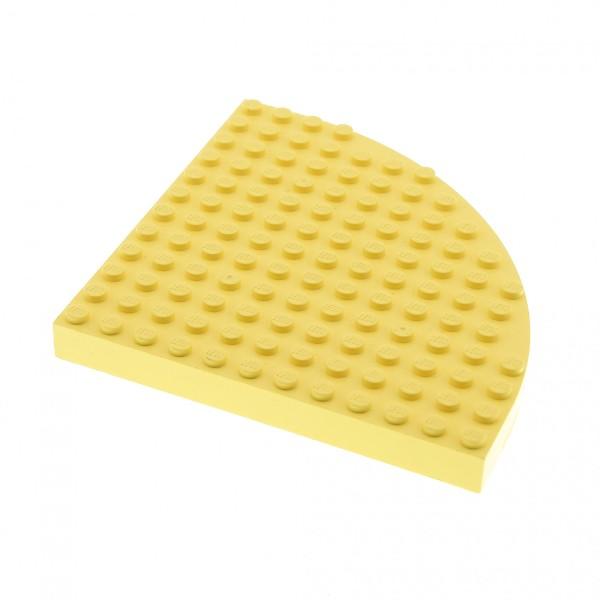 1 x Lego System Bau Platte hell gelb Grund Platte 12x12 Noppen Ecke rund viertel Kreis Belville Set 5880 5847 5895 5846 6162