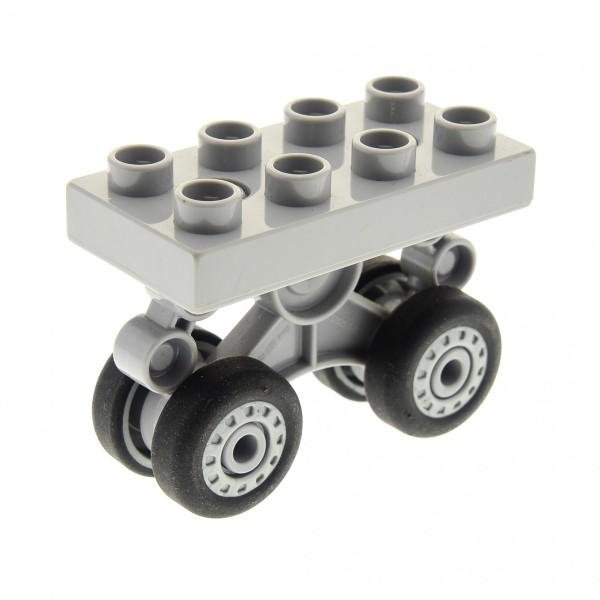 1 x Lego Duplo Rad neu-hell grau Platte 2x4 Fahrwerk Passagier Flugzeug Hubschrauber Airplane 5595 7840 7843 52925c01 52924