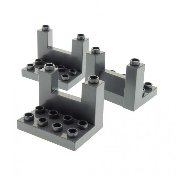 3 x Lego Duplo Zinne oben neu-dunkel grau 3 x 4 x 2 1/3 Rampart Ritter Burg Schloss Mauer Element Ober Teil Set 4785 4779 4776 4777 4960 51698