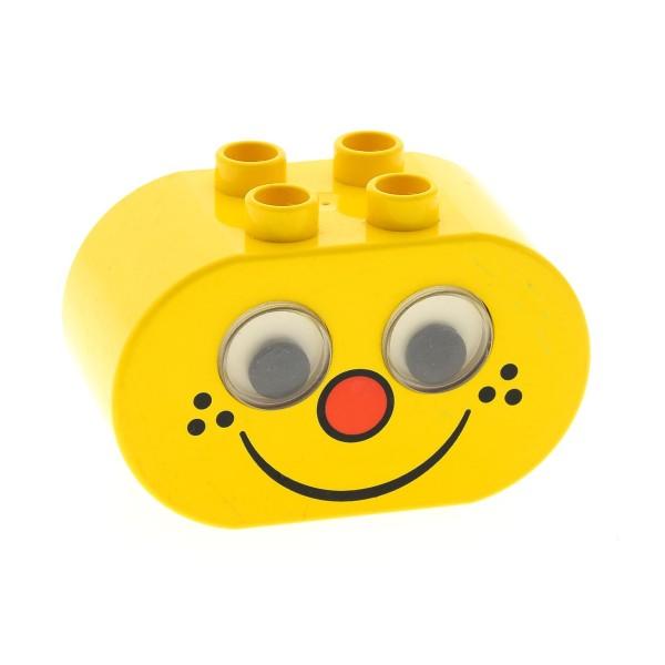 1 x Lego Duplo Figur Kopf Rassel gelb 2x4x2 Baustein Motiv Stein wackel Augen Kuller Auge Sommersprossen Baby Primo 2071pb02