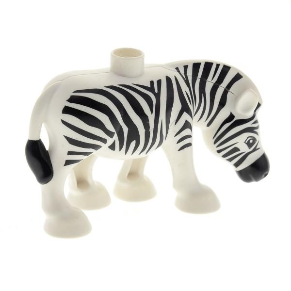 1 x Lego Duplo Tier Zebra schwarz weiss ( Mähne glatt ) Pferd Bauernhof Zoo Zirkus Safari 4569321 bb794pb01