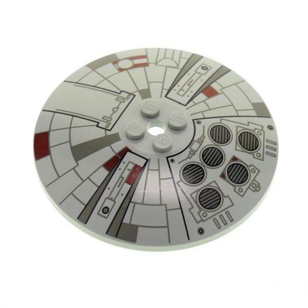 1 x Lego System Schild alt-hell grau 8 x 8 rund bedruckt ( Mini Millennium Falcon ) Sat Radar Schüsseln Star Wars Schirm 4488 3961px1