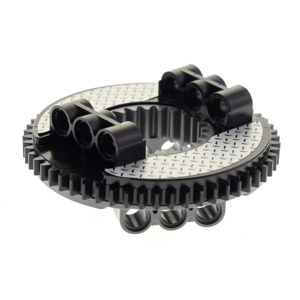 1 x Lego Technic Drehkranz flach schwarz neu-dunkel grau Turntable Technik rund Rad Zahnrad Typ2 Sticker silber Trittplatte 8292 48168 48452cx1pb02