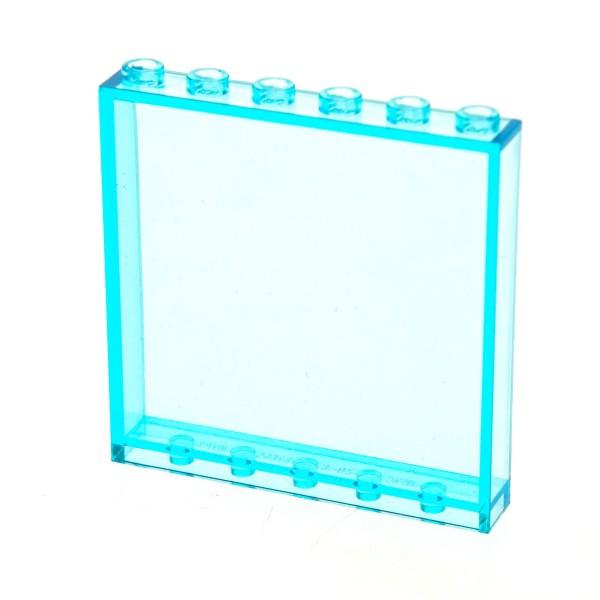 1 x Lego System Fenster Scheibe transparent hell blau 1x6x5 Panele Wand für Gebäude Haus Polizei Feuerwehr Flughafen 59349