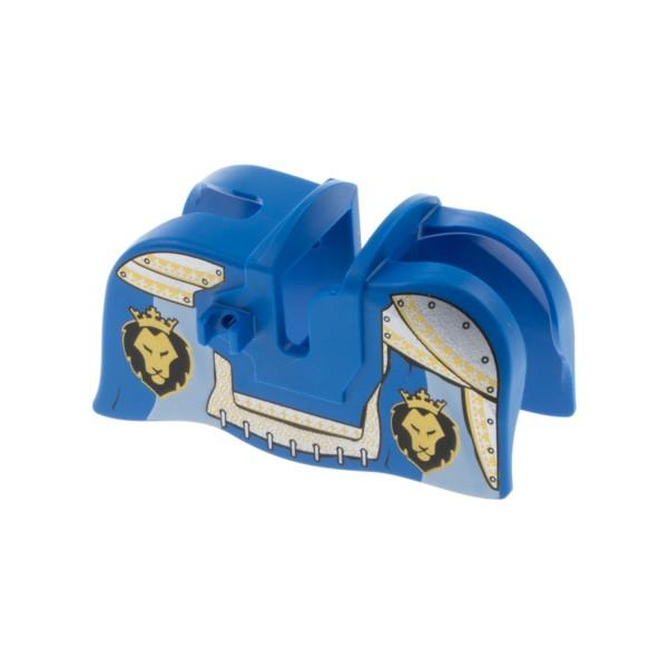 1x Lego Pferd Decke blau gold Löwe Krone Schabracke glatt König 13744pb02