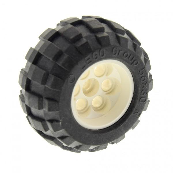 1 x Lego Technic Rad Ballon Reifen schwarz 56x30 R Felge weiss 49.6x28 VR mit Achs Loch Auto Fahrzeug (6595 / 32180) Set 8289 8454 8283 6595c01