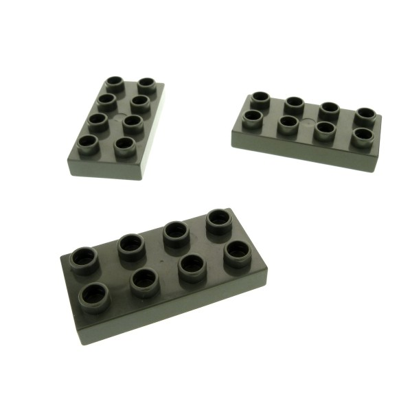 3 x Lego Duplo Bau Basic Platte alt-dunkel grau 2x4 Stein für Set 3618 3614 7435 3619 40666