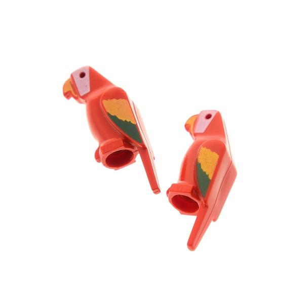 2 x Lego System Tier Papagei rot bunte Flügel Vogel Ara Bird Zoo Jungle Piraten 6286 6285 6278 2546p01