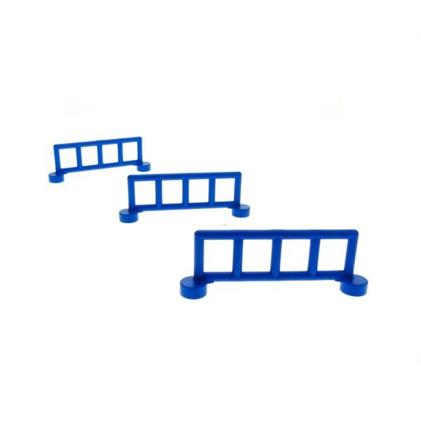 3 x Lego Duplo Zaun blau mit 5 Pfosten Zäune Gatter Gitter Geländer Absperrung Fence für Bauernhof Baustelle Zoo 2214