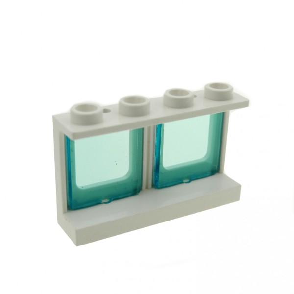 1 x Lego System Fenster Rahmen weiss transparent hell blau 1 x 4 x 2 Zug Eisenbahn Flugzeug doppel Fenster Glas Waggon 60601 61345