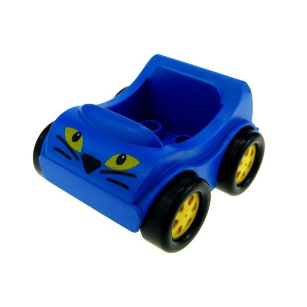 1 x Lego Duplo Fahrzeug Auto Go-Kart blau mit Katzen Löwen Augen PKW klein für Set 1405 Racing Lion 31363pb03