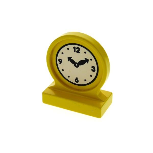 1 x Lego Duplo Möbel Uhr gelb Rund Stein mit Zeiger Aufdruck 10:10 Uhr Puppenhaus Wohnzimmer Schlafzimmer für Set 2780 2777 4909pb01
