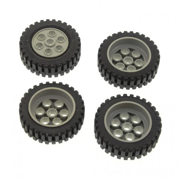 4 x Lego Technic Auto Fahrzeug Rad schwarz 30mm D.x13mm Felge alt-hell grau Räder 13x24 Technik Model Team 2696 269626 4141535 2695c01