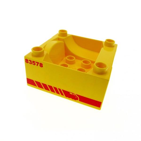 """1 x Lego Duplo Führerhaus gelb 4 x 4 bedruckt rot """" 83578 """"Zug Cockpit Container Aufsatz Unterteil Set 5608 5609 51547pb13"""