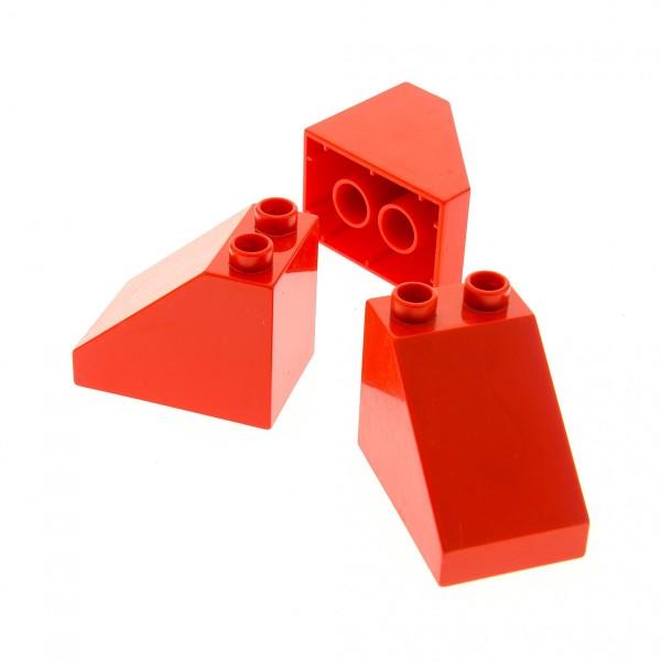 3x Lego Duplo Schräg Stein 3x2x2 rot Dachstein Set 5635 10508 9091 10592 63871