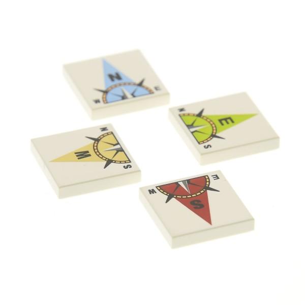 4 x Lego System Fliese weiss 2x2 bedruckt Himmels Richtung Norden Osten Süden Westen Steine für Kompass Set Würfel Spiel Atlantis 3851 3068