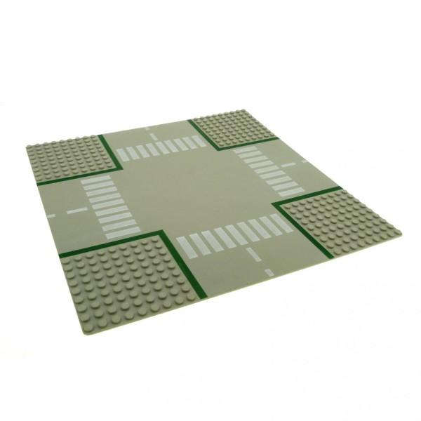 1 x Lego System Bau Platte 32x32 Kreuzung 9N alt-hell grau 32 x 32 Noppen Strasse Zebrastreifen 607p01