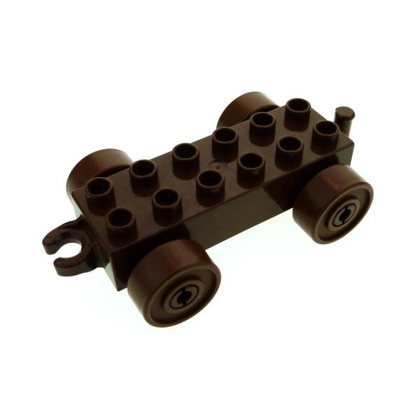1 x Lego Duplo Anhänger 2x6 braun mit Reifen Rad braun Auto Zug Katapult Wagen Kupplung offen neue Form für Set 2600 2604 2312c04