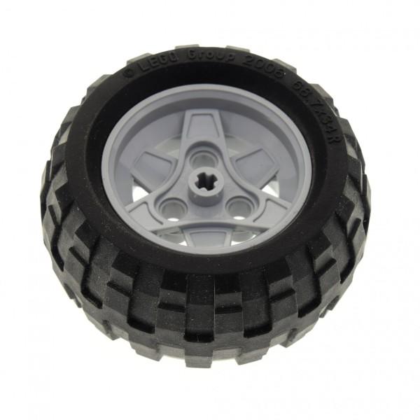 1 x Lego Technic Rad schwarz 68.7x34 R Reifen Felge neu-hell grau 43.2mm D.x26mm 3 Pin Löcher Auto Fahrzeug Set 8048 8262 8049 41896 61480 4539110 4211788 41896c03