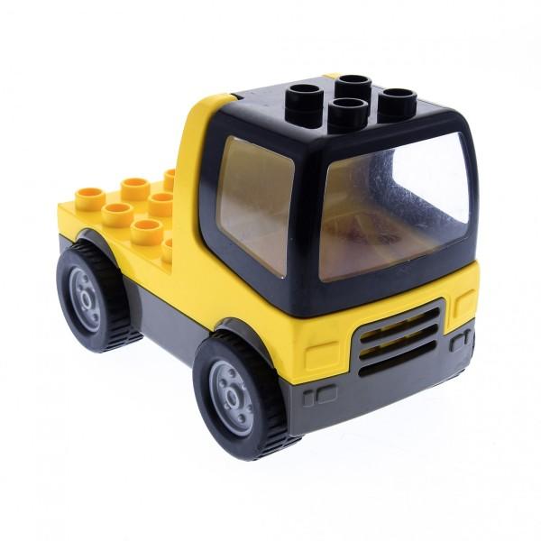 1 x Lego Duplo LKW gelb alt-dunkel grau mit Kabine schwarz Laster Auto Reifen gross Lastwagen Zugmaschine Baufahrzeug duptruck02 31077