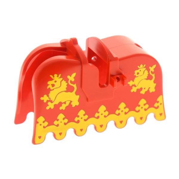 1 x Lego System Pferdedecke rot gelb Wappen Löwe Schabracke König Castle Ritter Pferd Decke Burg Set 6081 1584 6060 6039 2490px3