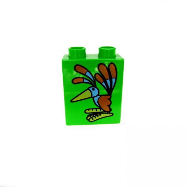 1 x Lego Duplo Motivstein grün 1x2x2 bedruckt Vogel Bob der Baumeister Figur 3282 Bild Bau Stein 4066pb032