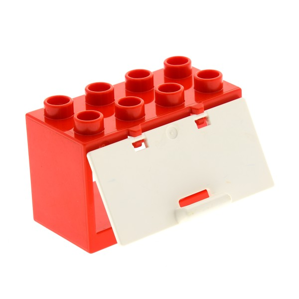 1 x Lego Duplo Container Stein rot 2x4x2 mit Scharnier Schrank Klappe weiß verstärkt mit Griff für Set Feuerwehr Tankstelle 10502 5601 6030422 10563 4515394 60775 18806