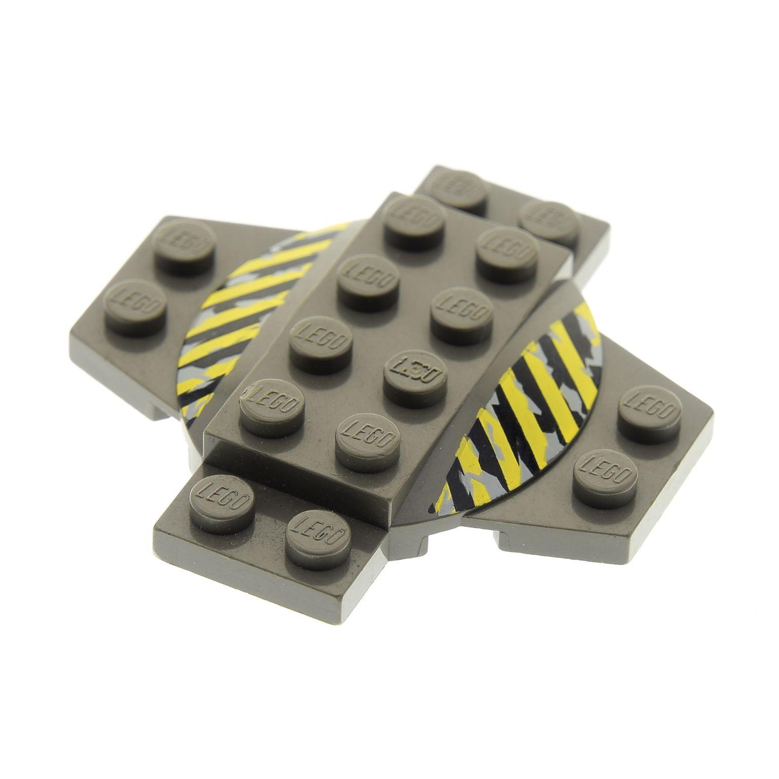 1 x Lego Kreuz Platte alt-dunkel grau  6x6  2//3 bedruckt Streifen 4980 30303pb01