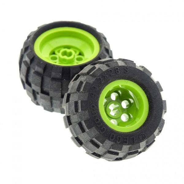 2 x Lego Technic Rad Ballon Reifen schwarz 43.2 x 28 small Räder Felge lime hell grün 43.2 x 28 (6580 / 6579) 6580c01