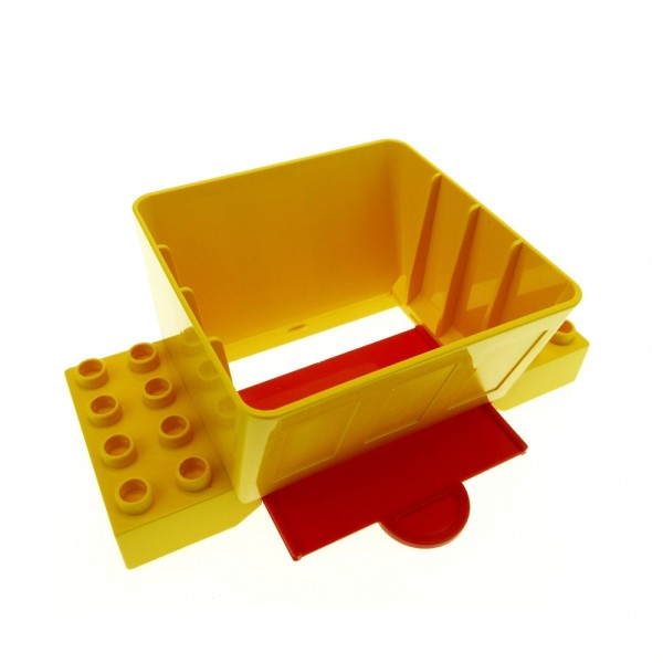 1 x Lego Duplo Kugelbahn Trichter 2x4 gelb mit Schiebe Platte rot für Baustelle Schütte Eisenbahn Bauernhof 9134 9173 3618 3102524 31026 31025