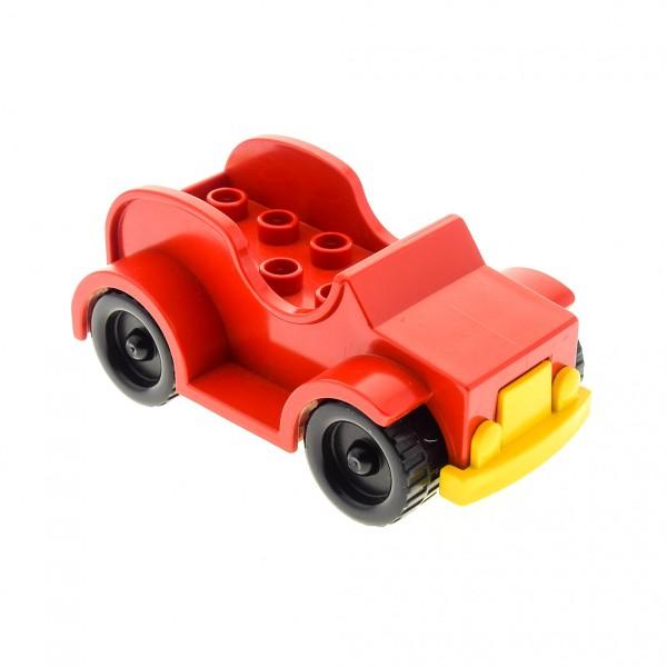 1x Lego Duplo Auto Jeep rot Kühlergrill gelb Räder schwarz PKW Fahrzeug 4853c01