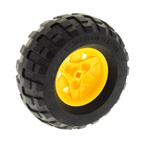 1 x Lego Technic Rad Reifen schwarz 81.6 x 38 R Balloon Felge gelb 43.2mm D. x 26mm (3 Pin) Räder Auto (41896 / 45982) 41896c01