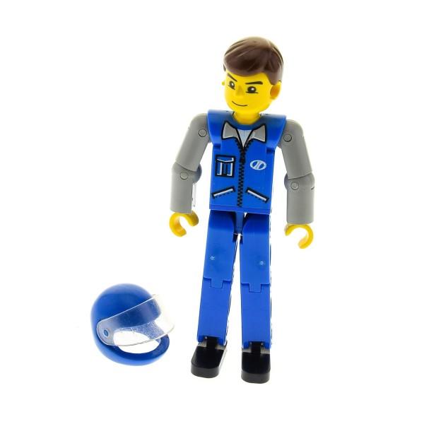 1 X Lego Technic Figur Mann Blau Beine Weste Reißverschluss Arm Alt Hell Grau Haare Braun Helm Blau Mit Visier Renn Baumaschinen Fahrer 8235 2715