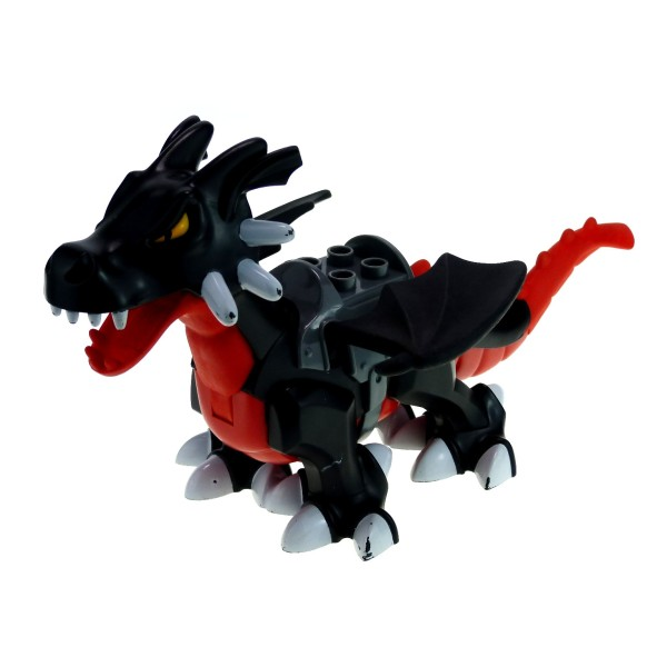 1 x Lego Duplo Tier Drache schwarz rot groß mit Sattel Dragon Tower Zoo Zirkus Burg Drachen Castle 4784 5334c01pb01