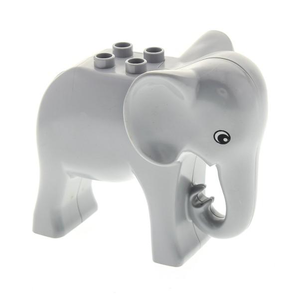 1 x Lego Duplo Tier Elefant alt-hell grau gross Augen rund Zoo Tierpark Safari Zirkus eleph2c01pb01