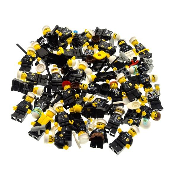 5 x Lego System City Mini Figuren Polizist Polizei Police Figur schwarz mit Zubehör Kopfbedeckung zufällig gemischt