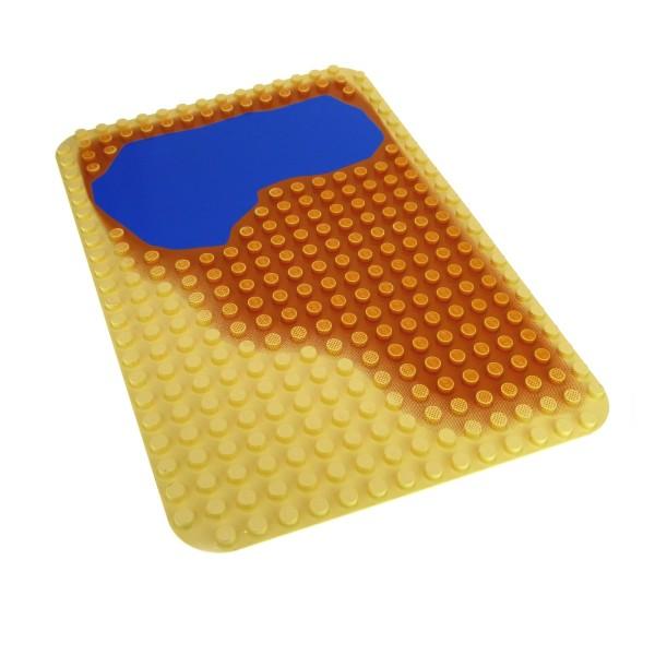 1 x Lego Duplo Bau Basic Platte beige gelb blau 16x24 24 x 16 Noppen Wasser Sand Wüste Zoo Safari 9059 2296pb02