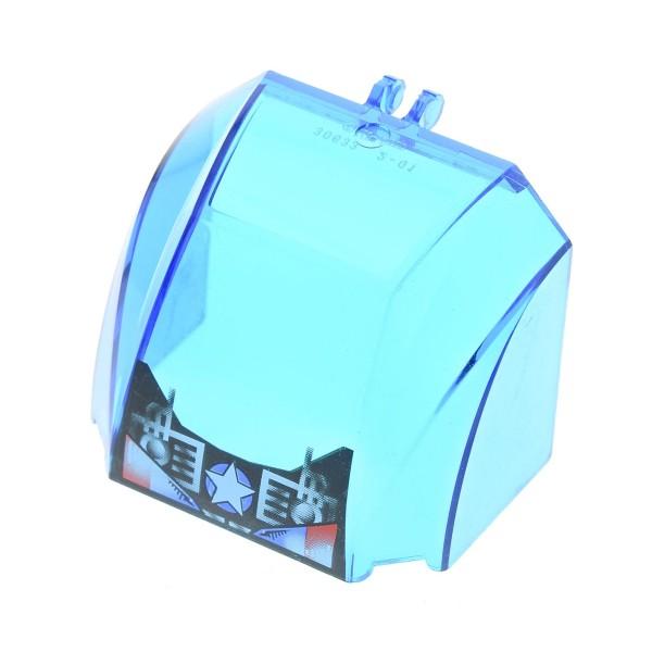 1 x Lego System Cockpit transparent dunkel blau 4x6x4 windscreen mit Stern Logo Truck Kuppel Fenster 30633px2