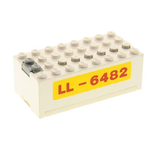 1 x Lego System Electric Batteriekasten weiss gelb rot mit LL - 6482 Aufdruck Batterie Block Technic geprüft 9V 4761 4760c01pb03