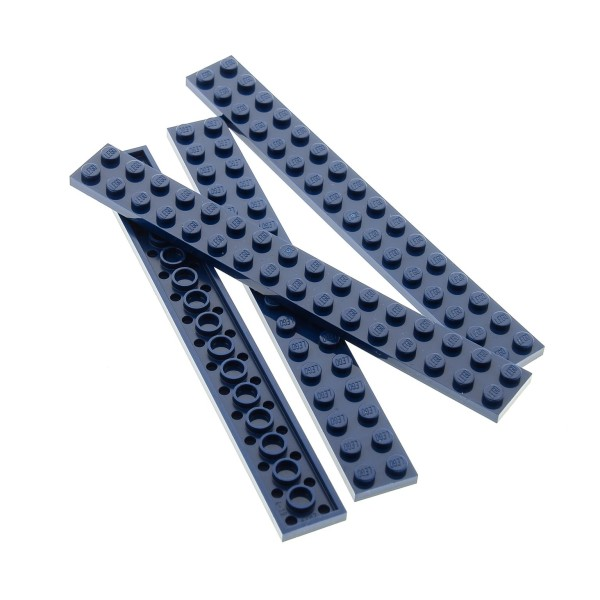 4 x Lego System Leiste Basic Bau Platte 2x16 Stein dunkel blau Steine Set Disney Castle 71040 60096 4595189 4282
