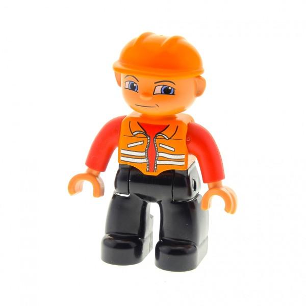 1 x Lego Duplo Figur Mann Bauarbeiter Hose schwarz Jacke Weste rot orange Augen blau Helm orange Baustelle 47394pb001