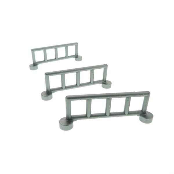 3 x Lego Duplo Zaun silber grau flat mit 5 Pfosten Zäune Gatter Gitter Geländer Absperrung Fence für Set Krankenhaus 9226 2214