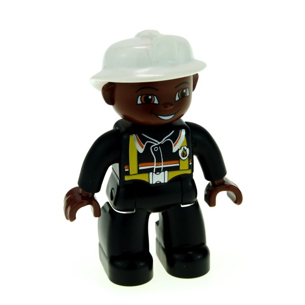 1 x Lego Duplo Figur Mann Feuerwehrmann Hose Jacke schwarz Hosenträger gelb Helm weiss Hände braun Kopf braun Feuerwehr 47394pb076
