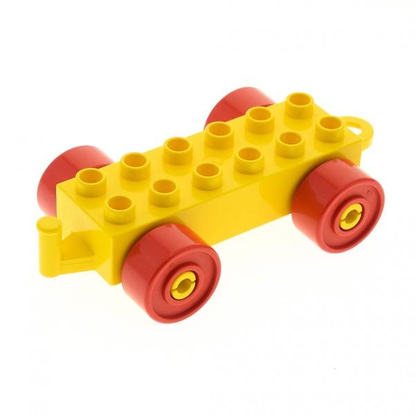 1 x Lego Duplo Auto Anhänger 2x6 gelb Reifen Rad rot Schiebe Zug Zirkus Eisenbahn Kupplung geschlossen alte Form 4883c02
