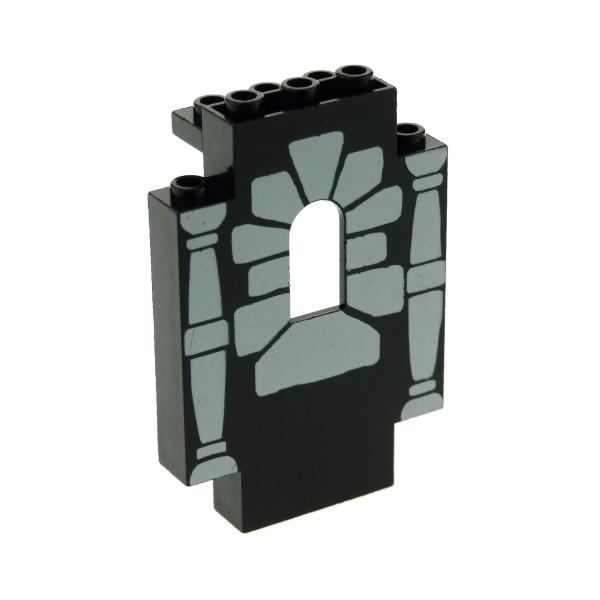1 x Lego System Mauerteil schwarz 2x5x6 Panele bedruckt mit alt-hell grau Fenster Stütze Säule Mauer Wand Burg Castle Piraten Set 9376 6090 6036 82339 4444pb04
