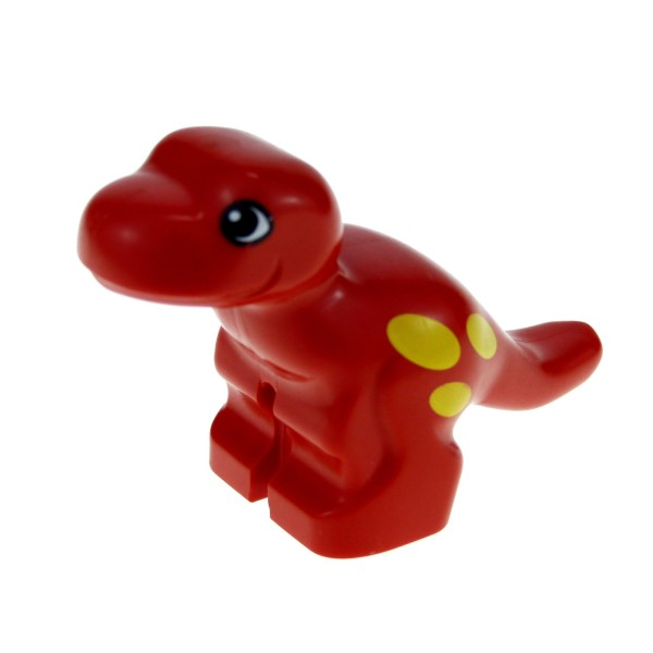 1 x Lego Duplo Tier T - Rex Dino rot Baby mit Muster gelb Dinosaurier Zoo Zirkus Steinzeit Dino Welt 31047