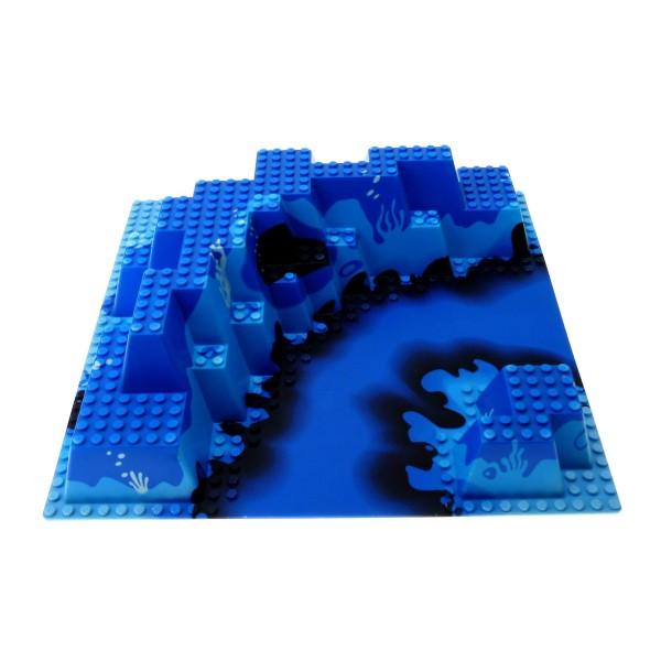 1 x Lego System 3D Bau Platte blau Berg Wasser 32x32 Noppen 3 D Ocean Meer Unterwasser Aquazone Aquanauts 6195 6024px1
