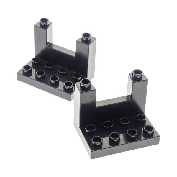 2 x Lego Duplo Zinne oben schwarz 3 x 4 x 2 Ritter Burg Schloss Mauer Element Ober Teil 4785 51698